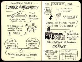 Mountain Shores Summer UnProductivity Podcast Sketchnotes